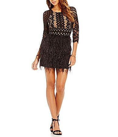 Gianni Bini Shelby Scoop Neck Feather Skirt Dress #Dillards