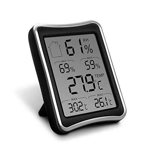 Digital Hygrometer Thermometer,Paragala Indoor Humidity Monitor with Temperature Gauge Humidity Meter with Stand and Large LCD Display for Home Offic Warehouse Greenhouse (Black)  Indicator Humidity and Temperature:measures humidity and temperature and offer the accurate readings at every 10 seconds;Humidity level icons indicate current air conditions:DRY/COMFORT/WET.Allow you to adjust your thermostat or humidifier in time  Monitor Thermo-Hygrometer:Large LCD screen display high/low t...