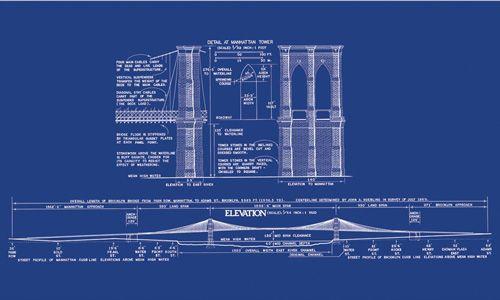 An Architectural Blueprint Of Brooklyn Bridge Elevations