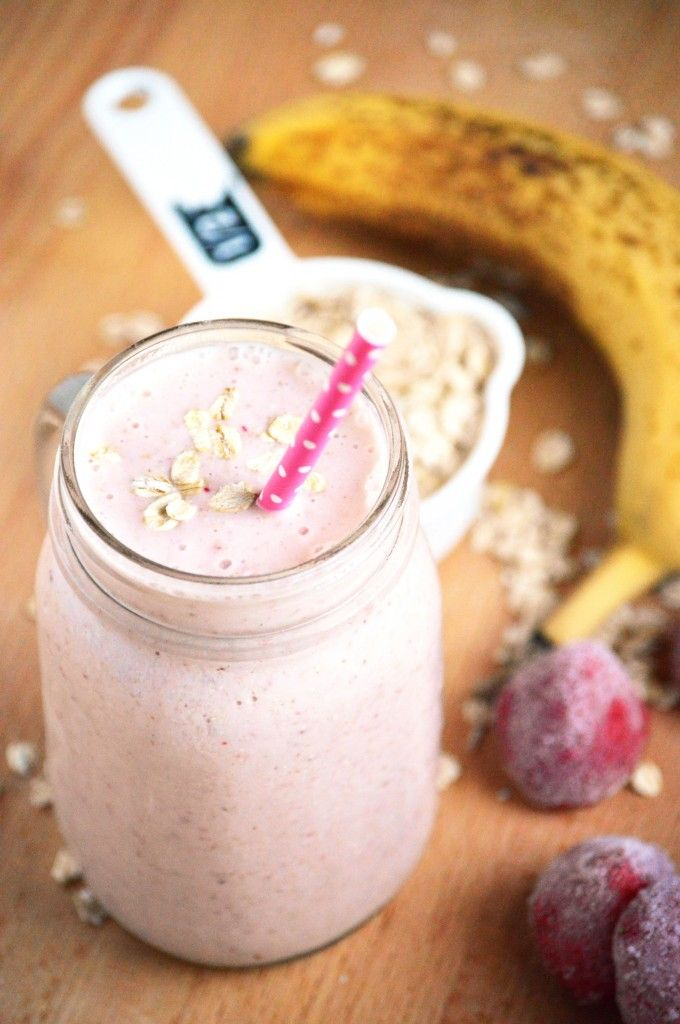Strawberry Banana Oatmeal Smoothies - A healthy and quick breakfast for those on-the-go! From What The Fork Food Blog