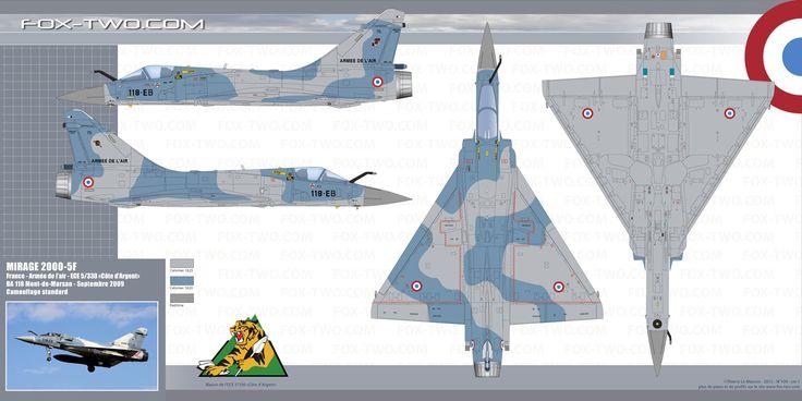 Couleurs et camouflage du Mirage 2000-5F code 118-EB numero 76 de l'escadron de chasse et d'expérimentation ECE 5/330 Côte d'Argent. Cet appareil participa au Nato tiger Meet 2009 sur la base de Kleine Brogel en Belgique.