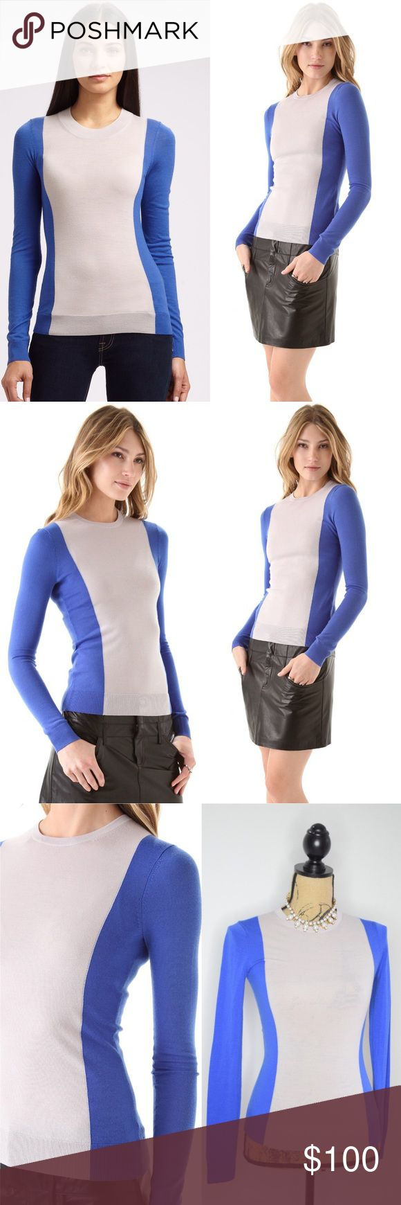 Theory Porsha Preen Cobalt Sweater Bold colorblocking lends visual structure to this slim Theory sweater, styled in easy to layer light knit. Ribbed edges. Sold out at Shop Bop, retails $245. Brand new with tags. Style C0711725.  Fabric: Fine knit. 100% wool. Dry clean. Bright lagoon color.   MEASUREMENTS Length: 23in, size P (like XS). Please discuss price using the offer button. :) Theory Sweaters Crew & Scoop Necks