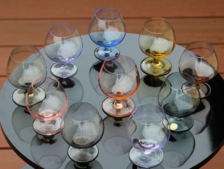 10 WMF Kristall Cognac - Sherry - Likörgläser bunt !!! 50er - 60er Jahre !!!