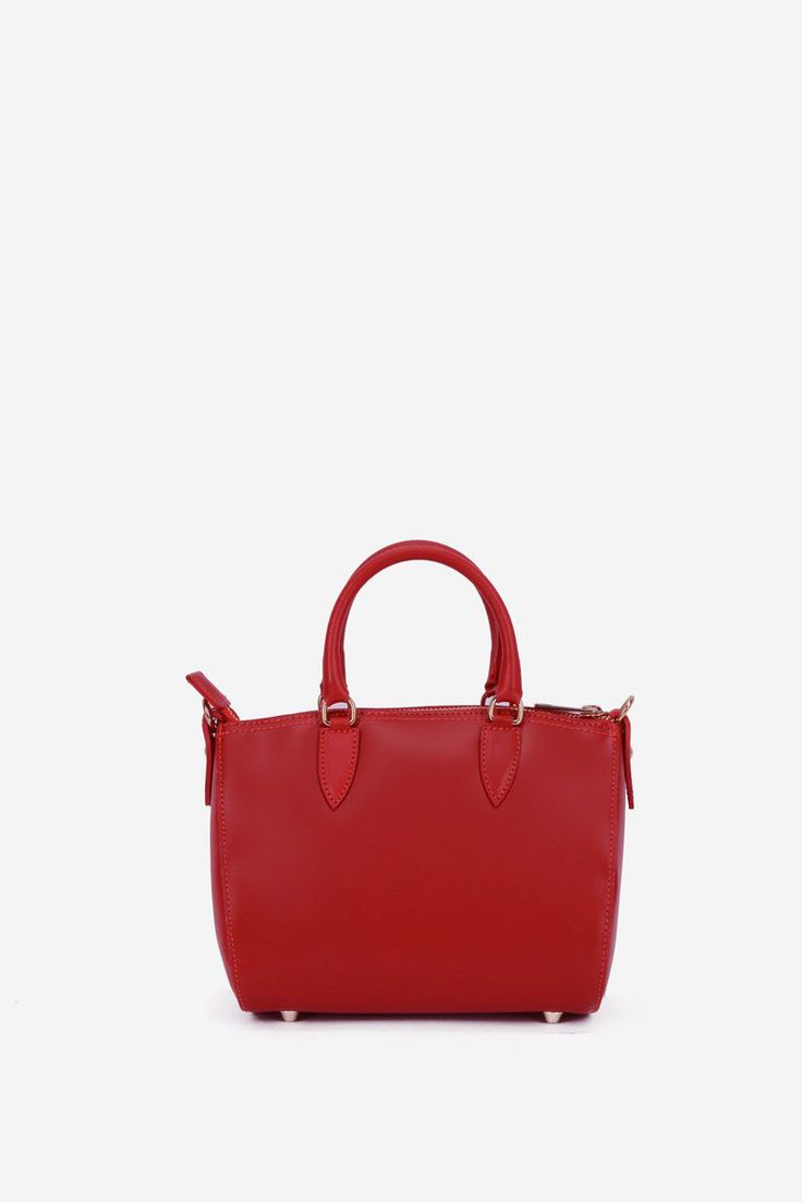 Daily Elegance Red Leather Bag, women`s bag, short grab handles and single long detachable handle, zipper fastening, insole material: fabric textil, upper material: leather