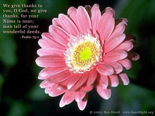 Psalm 75:1 -- We give thanks to you, O God, we give thanks, for your Name is near; men tell of your wonderful deeds.