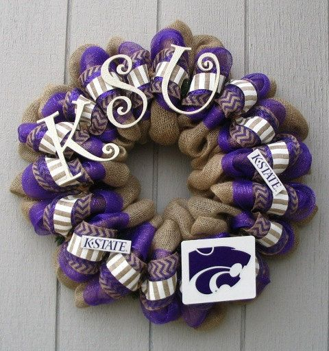 Kansas State University KSU Burlap wreath by wreathswithclasses