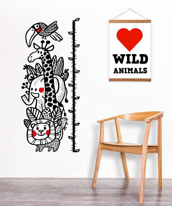 Höhe-Diagramm / Wildtiere / Kinder Aufkleber / Höhe Herrscher / Wachstum chart, Löwe, Elefant, Giraffe / Wand Aufkleber Kinderzimmer Kunst / Kinder Dekor