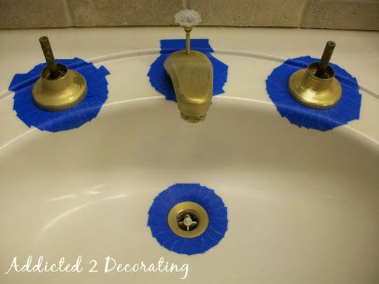 Spray Painting Bathroom Faucets ... before & after ................. #DIY #bathroom #faucets #spraypainting #paint #remodel