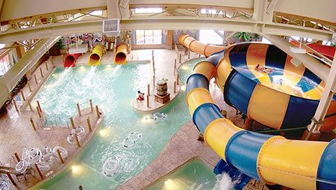 Canada Vortex water slide inside the Great Wolf Lodge indoor water park is waiting for you!