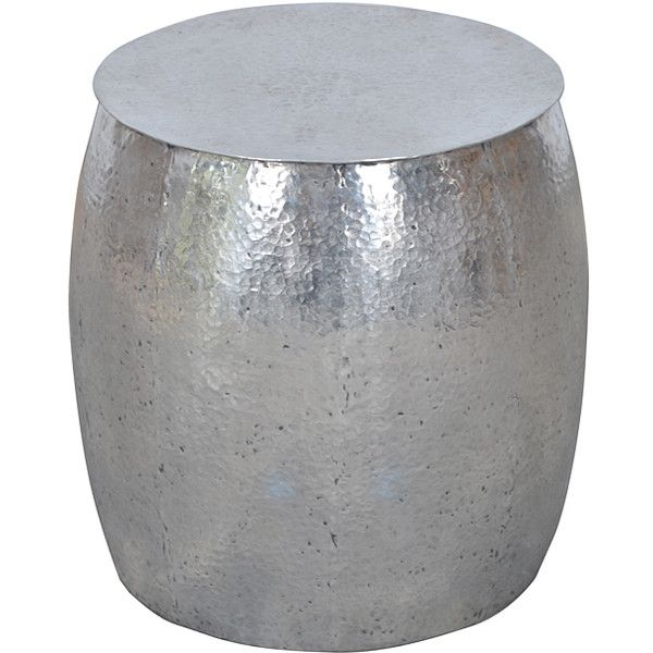Jeffan Tempered Metal Drum Side Table ($135) ❤ Liked On Polyvore Featuring  Home,
