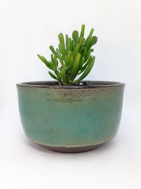 Green Planter Succulent Pot Ceramic Planter Stoneware Etsy Ceramic Succulent Pots Rustic Planters Succulent Pots
