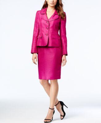 Le Suit Three-Button Shantung Skirt Suit