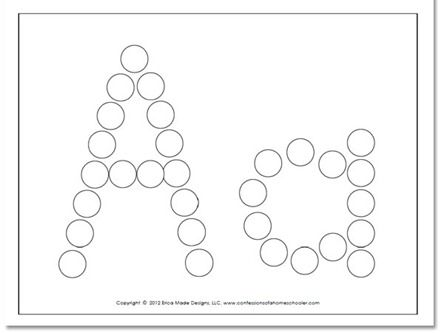 Do-a-dot worksheets, all letters, from Confessions of a Homeschooler