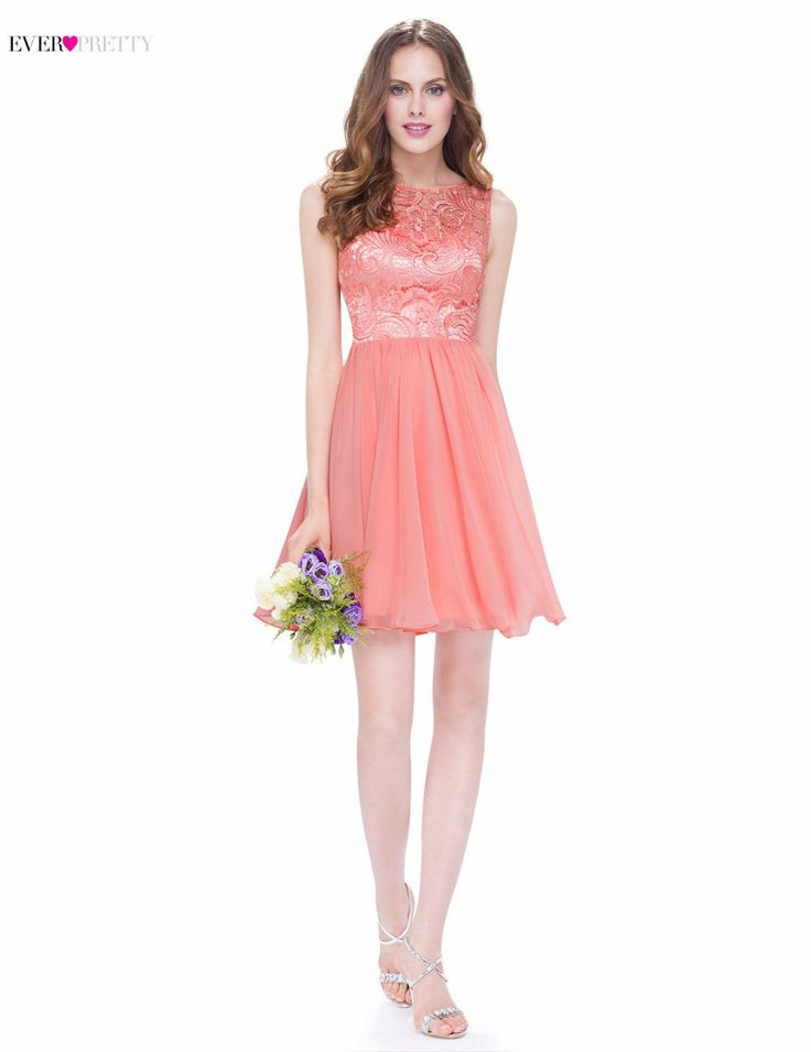 Evening Party Dress Peach Ever Pretty New Arrival  EP05491PE Women Elegant O-Neck Sleeveless Short A Line Hot Selling Dress