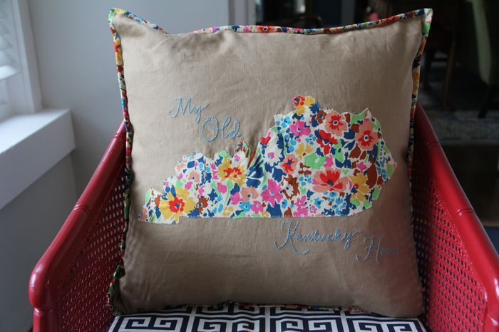 My Old Kentucky Home pillow with embroidery