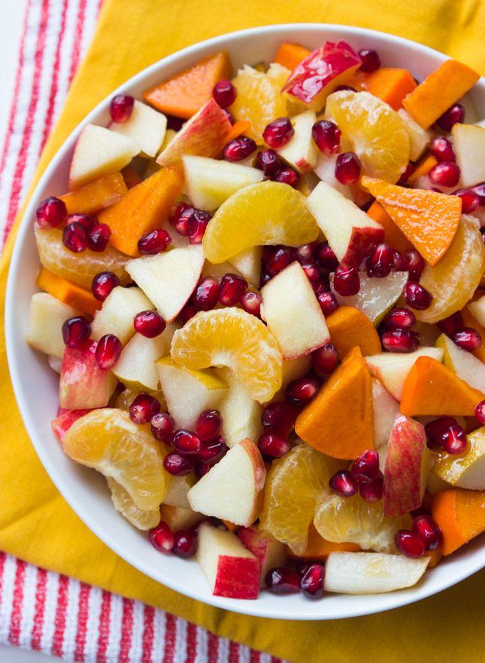 Winter Fruit Salad with Honey Lemon Syrup - healthy, festive and vibrant winter fruit salad with simple 2 ingredient honey syrup | littlebroken.com @littlebroken