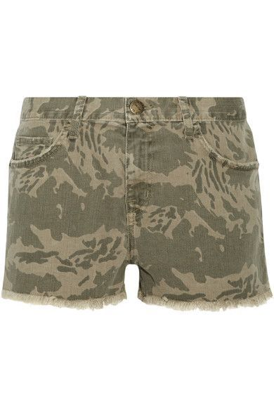 Current/Elliott - The Boyfriend Frayed Camouflage-print Denim Shorts - Army green - 30