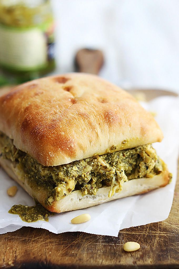 Easy pesto chicken sandwiches you can whip up in a hurry. Just 6 ingredients!