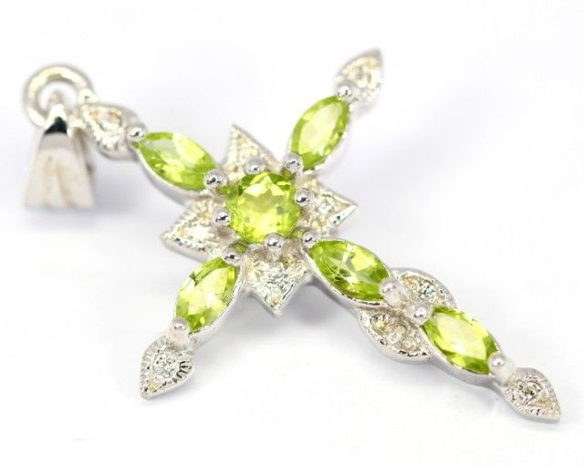 20.21Ct Stamped 925 Silver Cross Pendant / Natural Peridot cross pendant , cross opal pendant