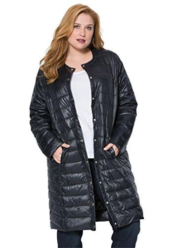 Roamans Women's Plus Size Long Packable Lightweight Puffer Coat Black,2X   #FreedomOfArt  Join us, SUBMIT your Arts and start your Arts Store   https://playthemove.com/SignUp
