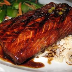 Firecracker Grilled Alaska Salmon No grill?  wrapped in tinfoil, baked on 350 for 20 minutes; then unfolded it & baked 20 more. I thought that'd be too long but it wasn't. TASTE out of this world!! I only marinated one hour (30 minutes each side).
