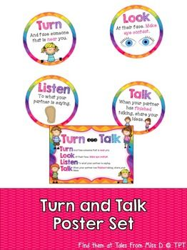 """Turn and Talk Poster SetSet up """"Turn and Talk"""" in your classroom with this bright and colourful poster set. Comes with 2 different versions; circles and all in one.If you have any questions or concerns please email me at talesfrommissd@gmail.com. I will try and get back to you ASAP.Related ProductsVoice Level ChartBehaviour Clip ChartGive Me FiveBe the first to know about my products and sales!Like what you see?"""