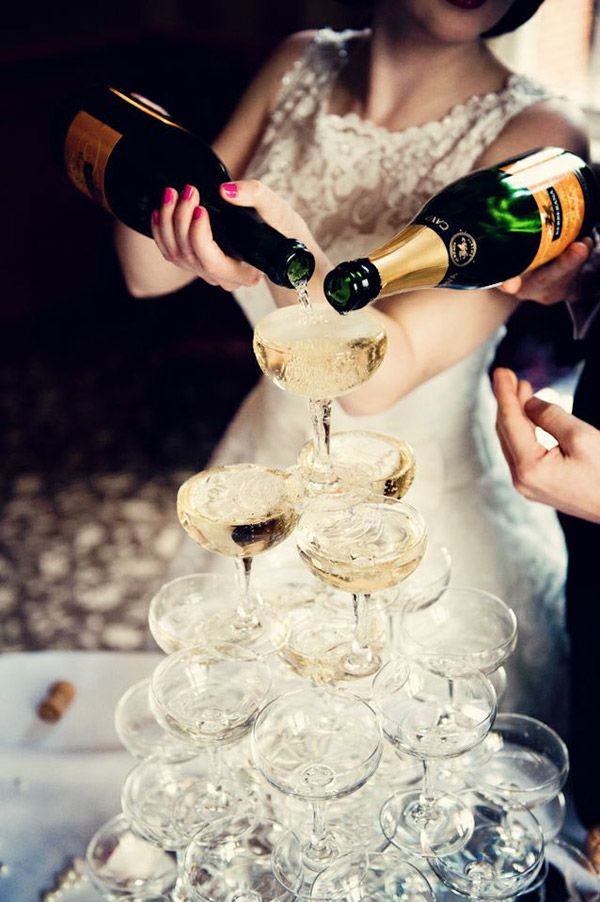 A champagne tower is elegant yet fun, and perfect for a 1920s art deco wedding.
