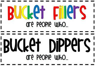 Bucket Fillers vs. Bucket Dippers headers and word sort