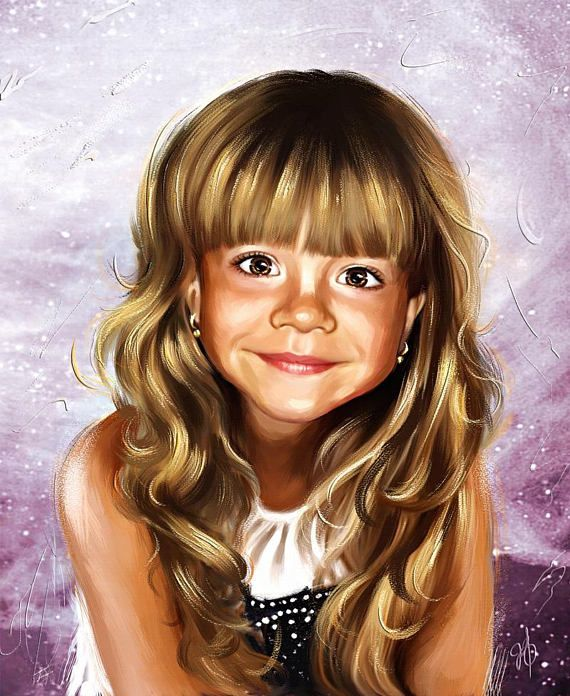 Custom Portrait Drawing Child Portrait or Baby Portrait from