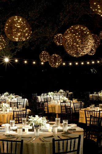 Grapevine Lanterns wrapped in Twinkle Lights, gorgeous reception venue