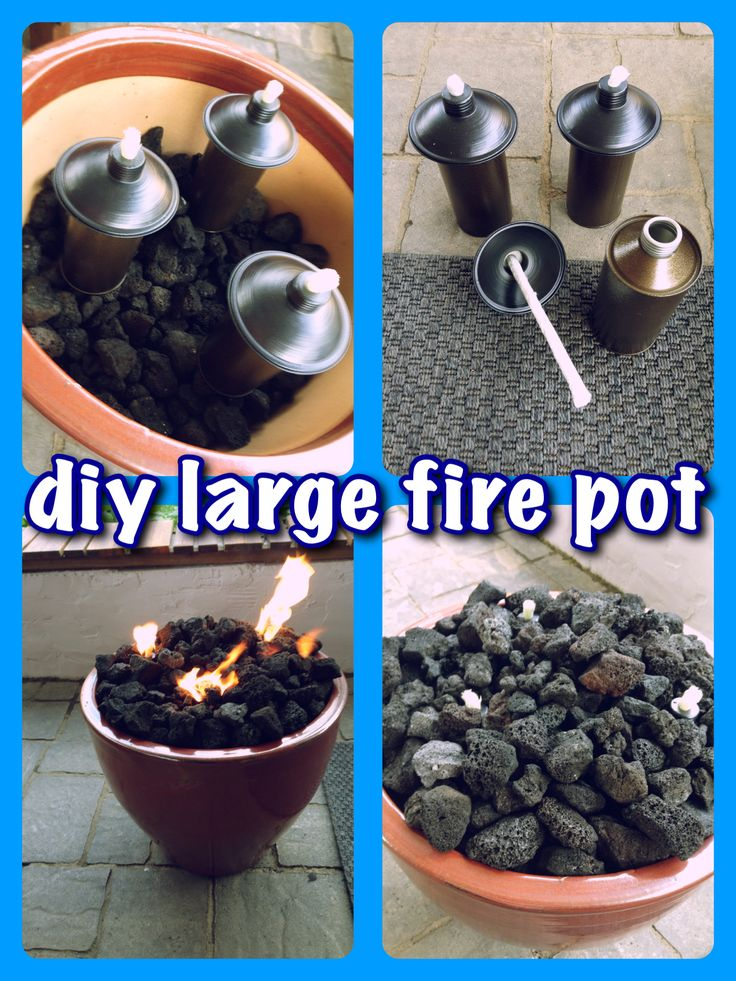 "34"" ceramic flower pot, filled with lava rocks. Used tiki torch inserts & covered with more lava rocks. Total cost under $55!"