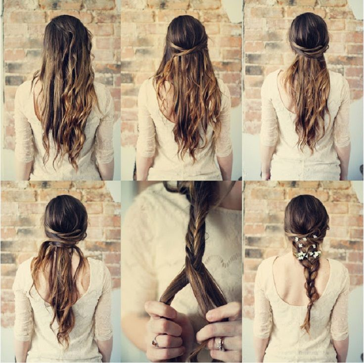 Start with your hair down. First, take a small strand from each side of your head close to your ear, wrap it around to the opposite side and pin in place. Repeat this process two more times, creating six strands crossing back and forth. Next, create a semi-loose braid with the rest of your hair. Lastly, add flowers throughout your braid!