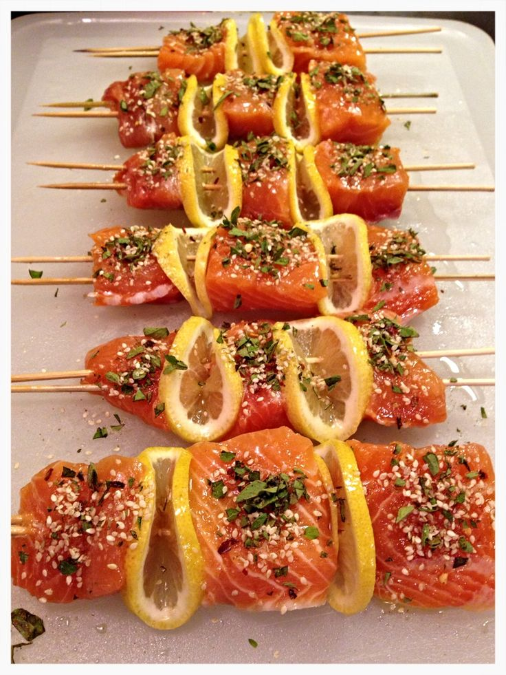 quick #weeknight #recipe spiced #salmon kabobs.  Delicious!