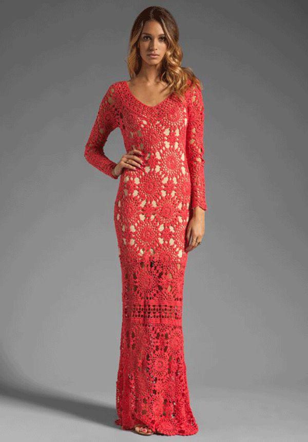 crochelinhasagulhas: Vestido longo vermelho de crochê