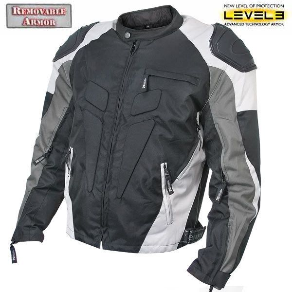 Armored Motorcycle Jacket Tri Tex Fabric High Performance Black/Silver  CF 624