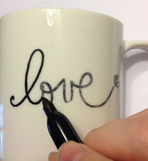 Simply Anchored: The Sharpie Mug! Erica you should get K to make these for grandma and grumpy. Just write on the cup with permanent pen then bake in oven for 25 mins on 350