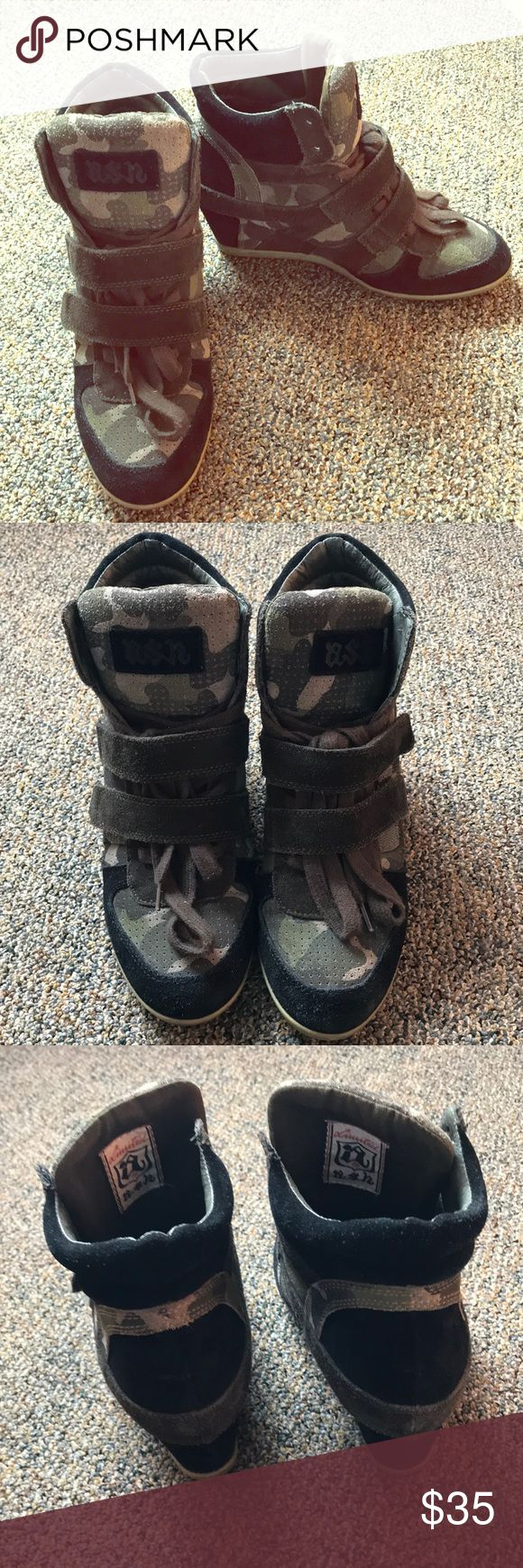 """Ash sneaker wedges Camouflage print with suede details. Shoelaces and Velcro. Approx. 3"""" hidden wedge. Fair amount of wear. Ash Shoes"""