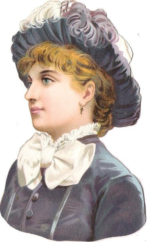 Oblaten Glanzbild scrap die cut chromo Lady Dame 10,5 cm head portrait national