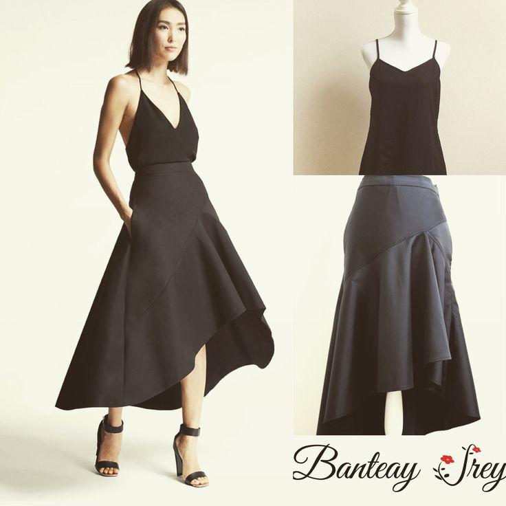 Black Chiffon Cami & Japanese Silk Dip Back Skirt