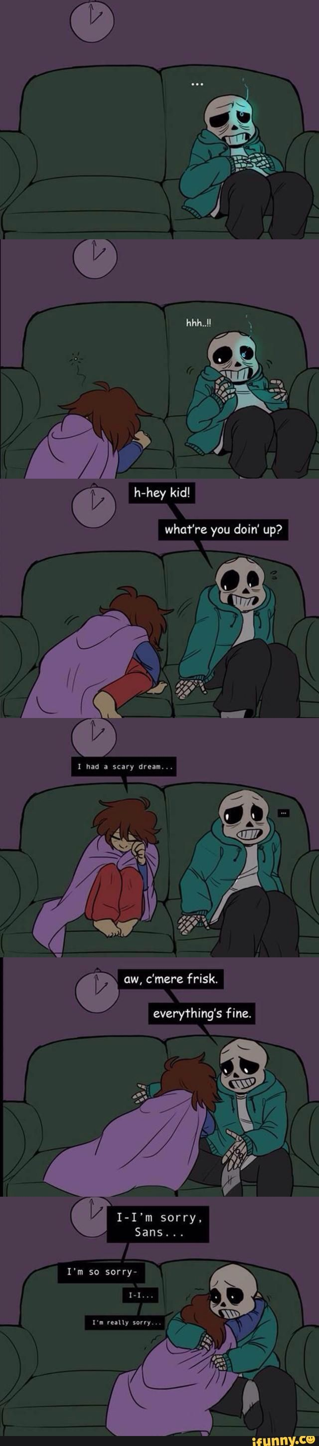undertale, sans, frisk. In which the Genocide run is just a bad dream. Frisk must've just killed Sans