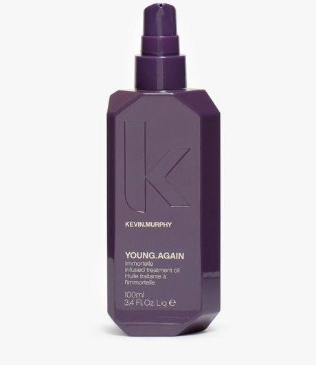 #YoungAgain 100 ML.   Anti-aging olie Anti-aging serum voor het haar met magisch ingrediënt immortelle. Immortelle gaat het verouderingsproces tegen, wordt veel gebruikt in huidverzorgingsproducten en het stimuleert celvernieuwing. YOUNG.AGAIN trekt snel in het haar en beschermt het tegen 220 graden Celsius en UV straling. Naast immortelle, bevat het ook paardenkastanje, citrus en appel. #KevinMurphy #Kevin #Murphy #LintsenKappers #Lintsen #Kappers