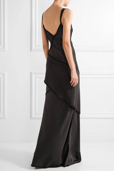 Jason Wu - Crepe-paneled Silk-satin Gown - Charcoal - US8