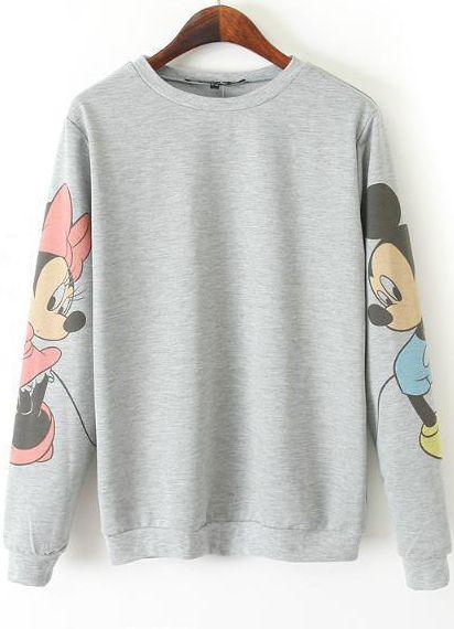Grey Long Sleeve Mickey Print Loose Sweatshirt US$24.00