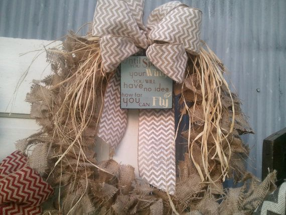 Burpap Wreath with White Chevron and raffia by HayDayLiving, $45.00