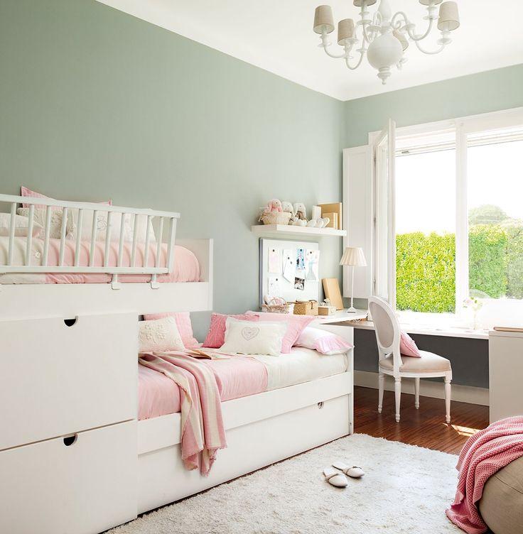 Las 25 mejores ideas sobre dormitorios de dos ni as en for Cuartos para ninas literas
