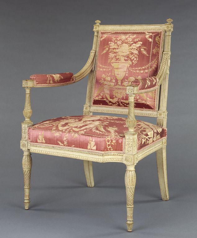 Armchair; Georges Jacob (French, 1739 - 1814, master 1765); Paris, France; about 1790 - 1792; Painted beechwood and modern silk upholstery; 91.DA.15