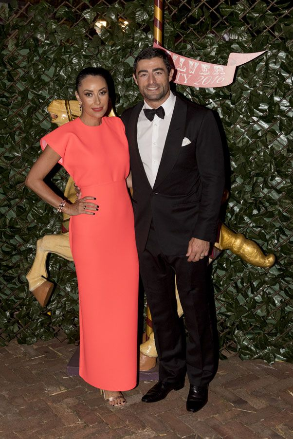 """Terry Biviano & Anthony Minichello. Terry wears the Maticevski """"Breathless Dress"""" in Neon from SS16   tonimaticevski.com"""