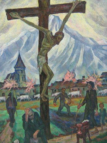 """(2:1) """"Crucifixion at the Outskirts of the Village"""" by Hans Eder (1883-1955). This painting is dated in 1924.  Hosted inside the National Museum of Fine Arts of Romania, București."""
