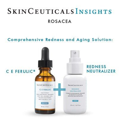 C E Ferulic® and SkinCeuticals Redness Neutralizer helps prevent the oxidative stress that leads to skin damage & neutralises the inflammation cascade—in turn preventing signs of premature ageing & reducing redness & flushing.  www.villagespas.com #SkinCeuticals