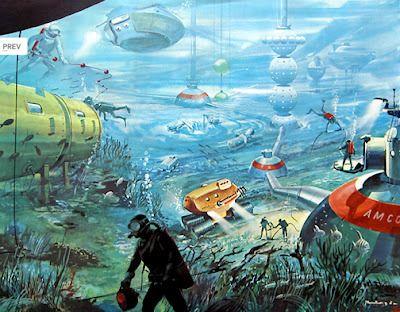 외국의 여러 미래 상상화입니다. 현재와 별 다를 것 없는 도시 형태에 지구 온난화에 따른 해수면 상승때문일까요? 물이 많아보이네요. 그리고 하늘을 나는 비행기들 대기의 오염으로 인해 산소가 부족해 질지도 모릅니다. 간편한 우주복과 애완동물한테도 우주구슬을 달아줬네요. 개가 안에서 챗바퀴 돌듯이 굴러가는 원리인것 같습니다. 그런데 식물은 어떻게 살까요? 바다..